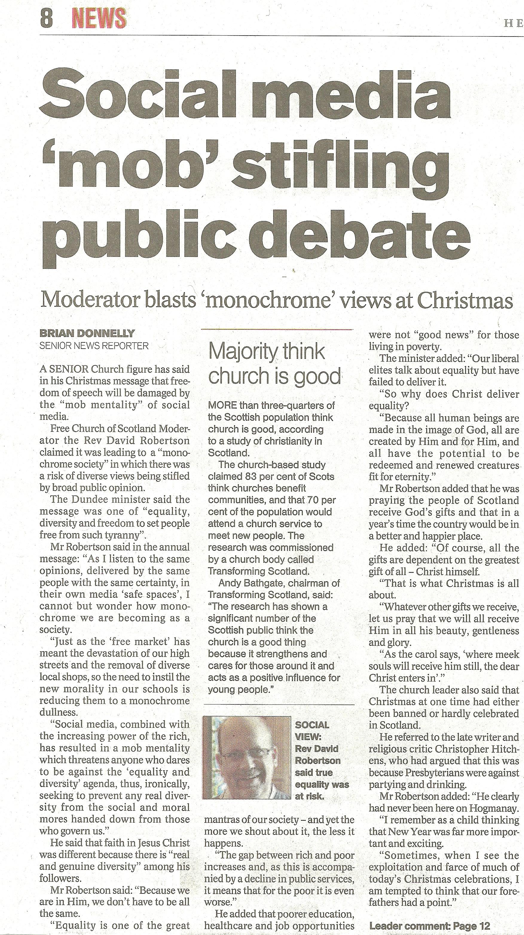 Herald 22-12-15 - Social Media mob stifling public debate