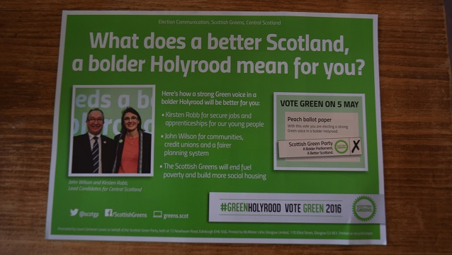 Green party leaflet nwb