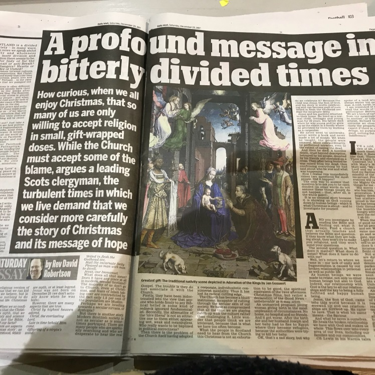 a profound message in bitterly divided times christmas saturday  this was published as the saturday essay in todays scottish daily mail it is wonderful to be able to testify in such a public secular forum to the good